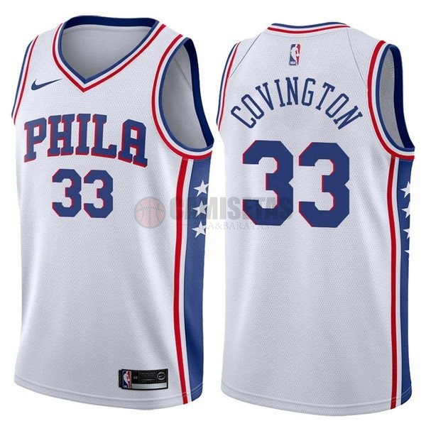 Camisetas NBA Nike Philadelphia Sixers NO.33 Robert Covington Blanco Association Barats