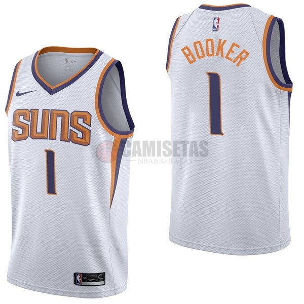 Camisetas NBA Nike Phoenix Suns NO.1 Devin Booker Blanco Association Barats