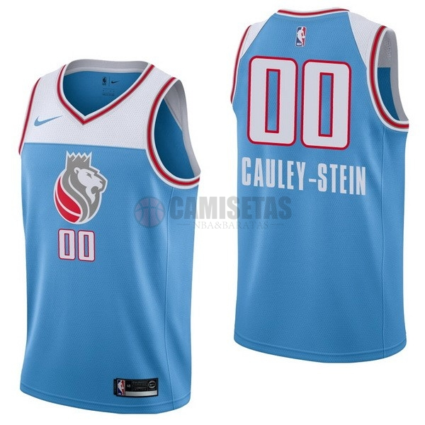 Camisetas NBA Nike Sacramento Kings NO.0 Willie Cauley Stein Nike Azul Ciudad Barats