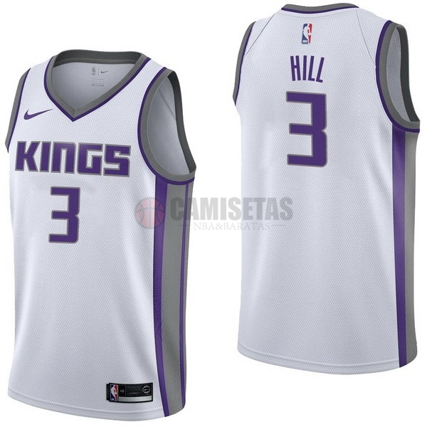 Camisetas NBA Nike Sacramento Kings NO.3 George Hill Blanco Association Barats