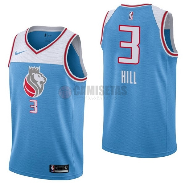 Camisetas NBA Nike Sacramento Kings NO.3 George Hill Nike Azul Ciudad Barats