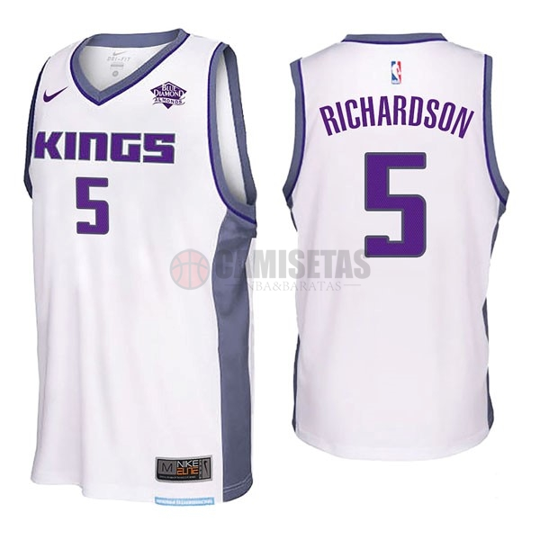 Camisetas NBA Nike Sacramento Kings NO.5 Malachi Richardson Blanco Barats