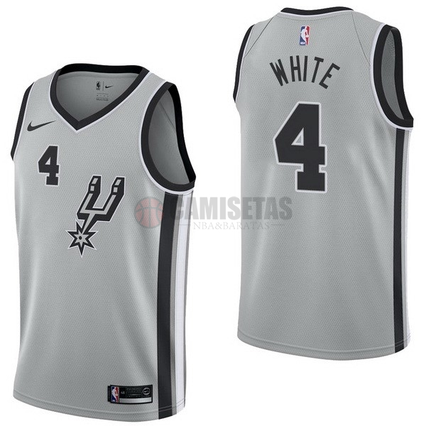 Camisetas NBA Nike San Antonio Spurs NO.4 Derrick White Gris Statement Barats