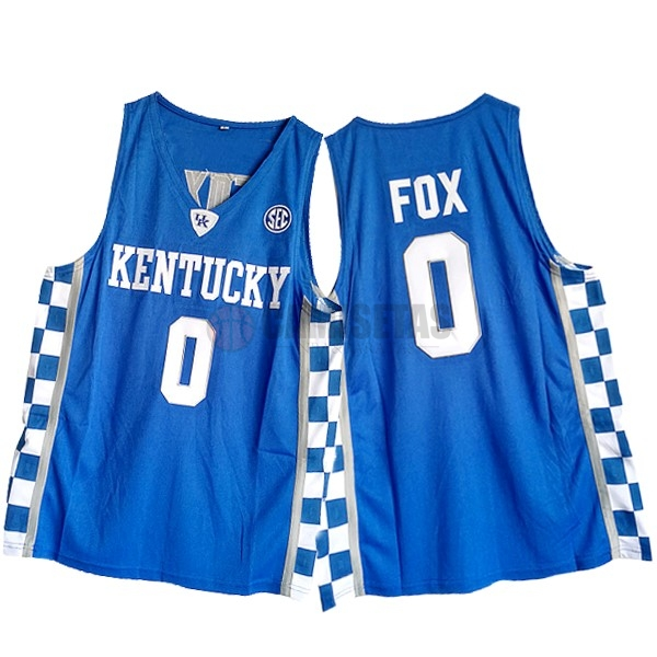 Camisetas NCAA Kansas NO.0 De'Aaron Fox Azul Barats