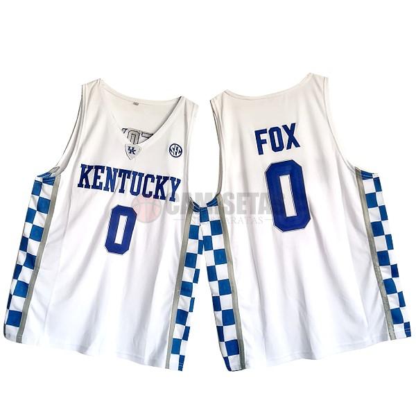 Camisetas NCAA Kansas NO.0 De'Aaron Fox Blanco Barats