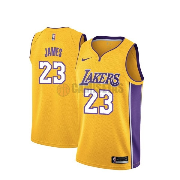 Camisetas NBA Nike Los Angeles Lakers NO.23 Lebron James Amarillo Icon Barats