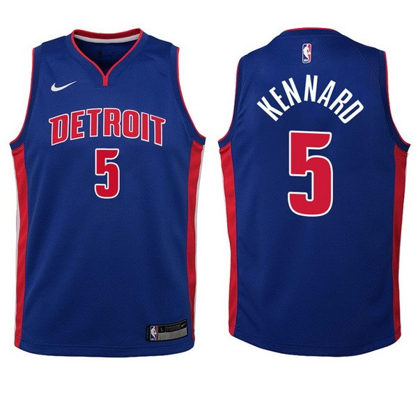 Camisetas NBA Niño Detroit Pistons NO.5 Luke Kennard Azul Icon Barats