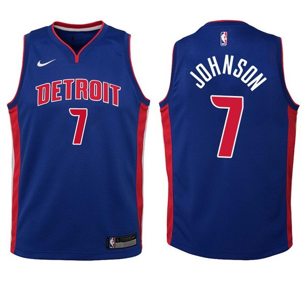Camisetas NBA Niño Detroit Pistons NO.7 Stanley Johnson Azul Icon Barats