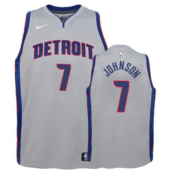 Camisetas NBA Niño Detroit Pistons NO.7 Stanley Johnson Gris Statement Barats