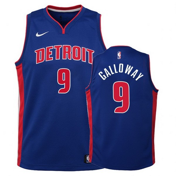 Camisetas NBA Niño Detroit Pistons NO.9 Langston Galloway Azul Icon Barats