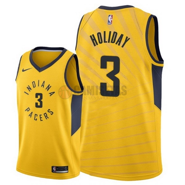 Camisetas NBA Nike Indiana Pacers NO.3 Aaron Holiday Amarillo Statement 2018 Barats