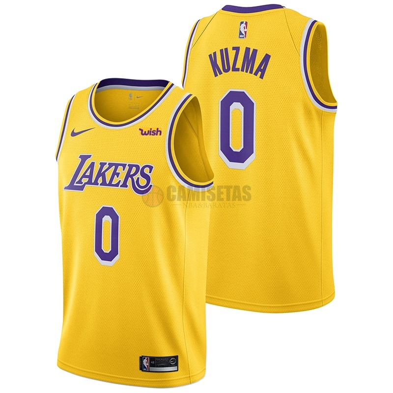 Camisetas NBA Nike Los Angeles Lakers NO.0 Kyle Kuzma Amarillo 2018-19 Barats