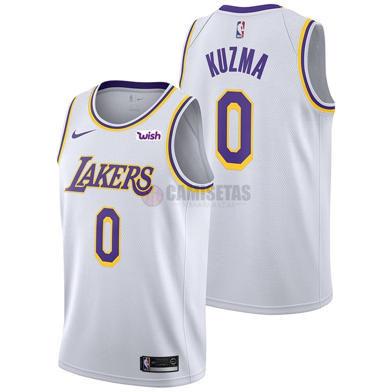 Camisetas NBA Nike Los Angeles Lakers NO.0 Kyle Kuzma Blanco 2018-19 Barats