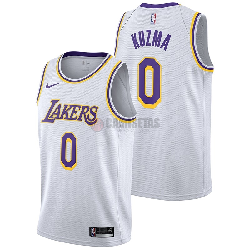 Camisetas NBA Nike Los Angeles Lakers NO.0 Kyle Kuzma Blanco Association 2018-19 Barats