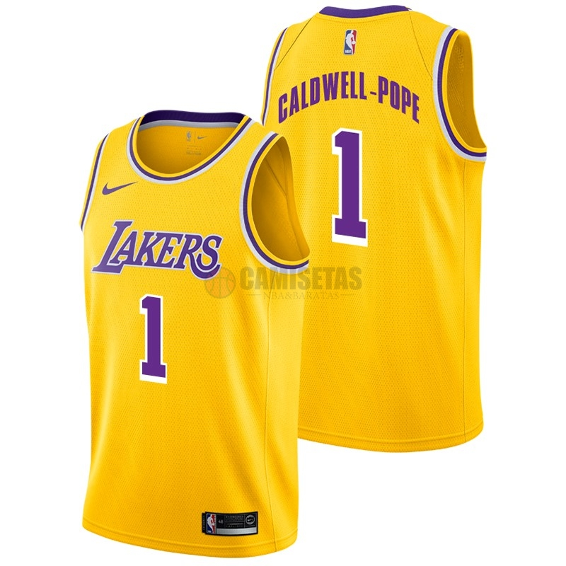 Camisetas NBA Nike Los Angeles Lakers NO.1 Kentavious Caldwell Pope Amarillo Icon 2018-19 Barats