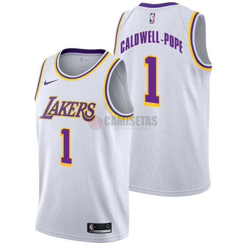 Camisetas NBA Nike Los Angeles Lakers NO.1 Kentavious Caldwell Pope Blanco Association 2018-19 Barats