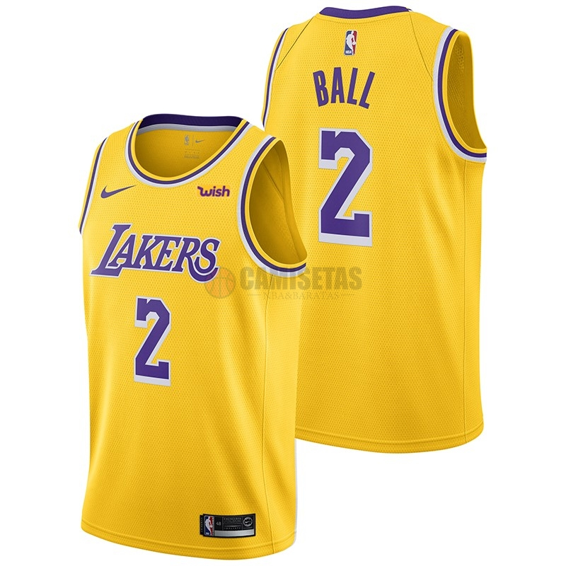 Camisetas NBA Nike Los Angeles Lakers NO.2 Lonzo Ball Amarillo 2018-19 Barats
