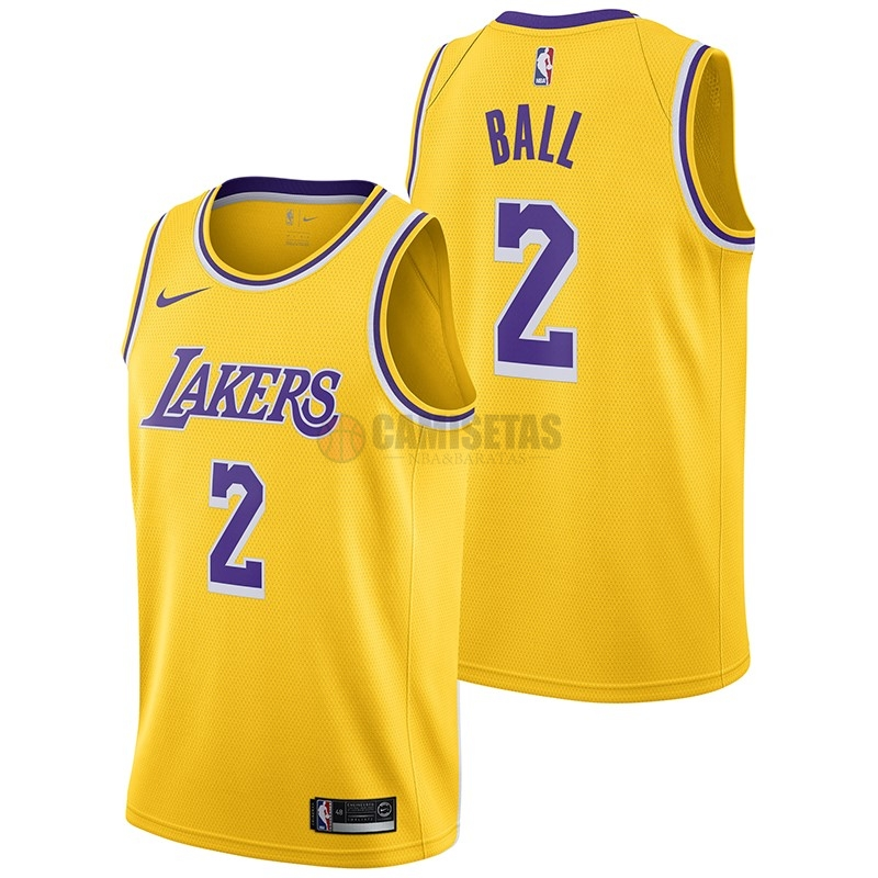 Camisetas NBA Nike Los Angeles Lakers NO.2 Lonzo Ball Amarillo Icon 2018-19 Barats