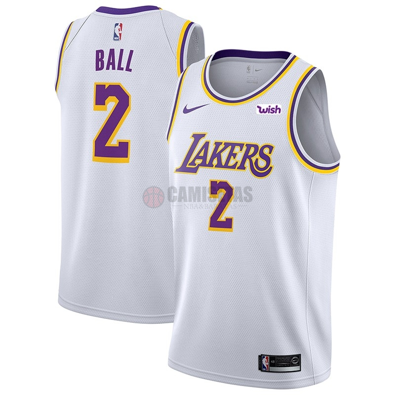 Camisetas NBA Nike Los Angeles Lakers NO.2 Lonzo Ball Blanco 2018-19 Barats
