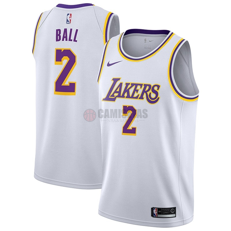 Camisetas NBA Nike Los Angeles Lakers NO.2 Lonzo Ball Blanco Association 2018-19 Barats