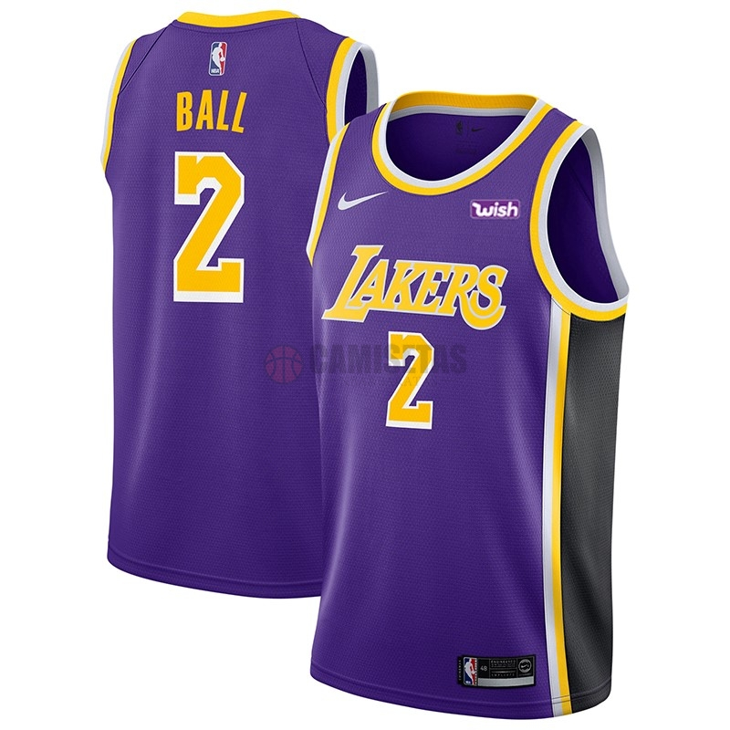 Camisetas NBA Nike Los Angeles Lakers NO.2 Lonzo Ball Púrpura 2018-19 Barats