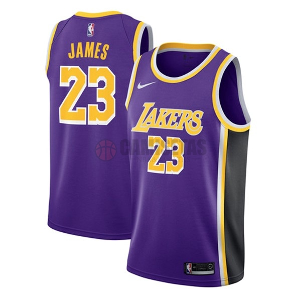 Camisetas NBA Nike Los Angeles Lakers NO.23 Lebron James Púrpura Statement 2018-19 Barats