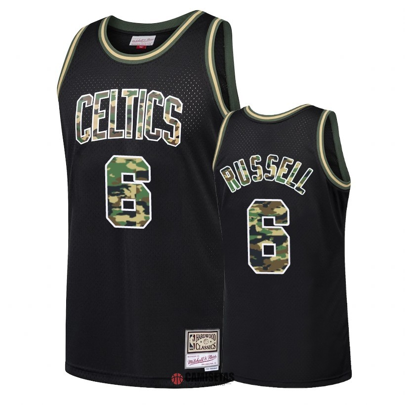 Camisetas NBA Camuflaje De Fuego Recto Boston Celtics NO.6 Bill Russell Negro 2018 Barats
