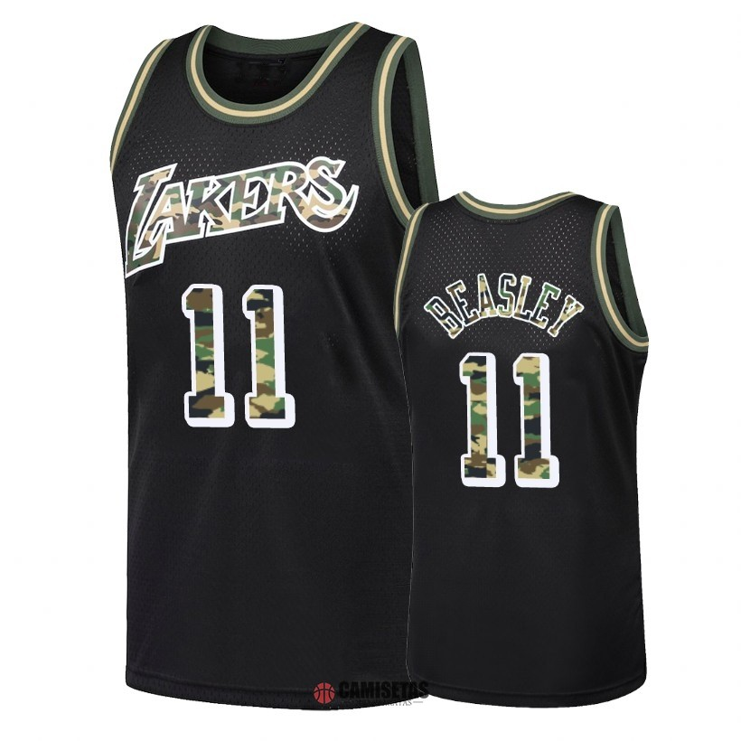 Camisetas NBA Camuflaje De Fuego Recto Los Angeles Lakers NO.11 Michael Beasley Negro 2018 Barats