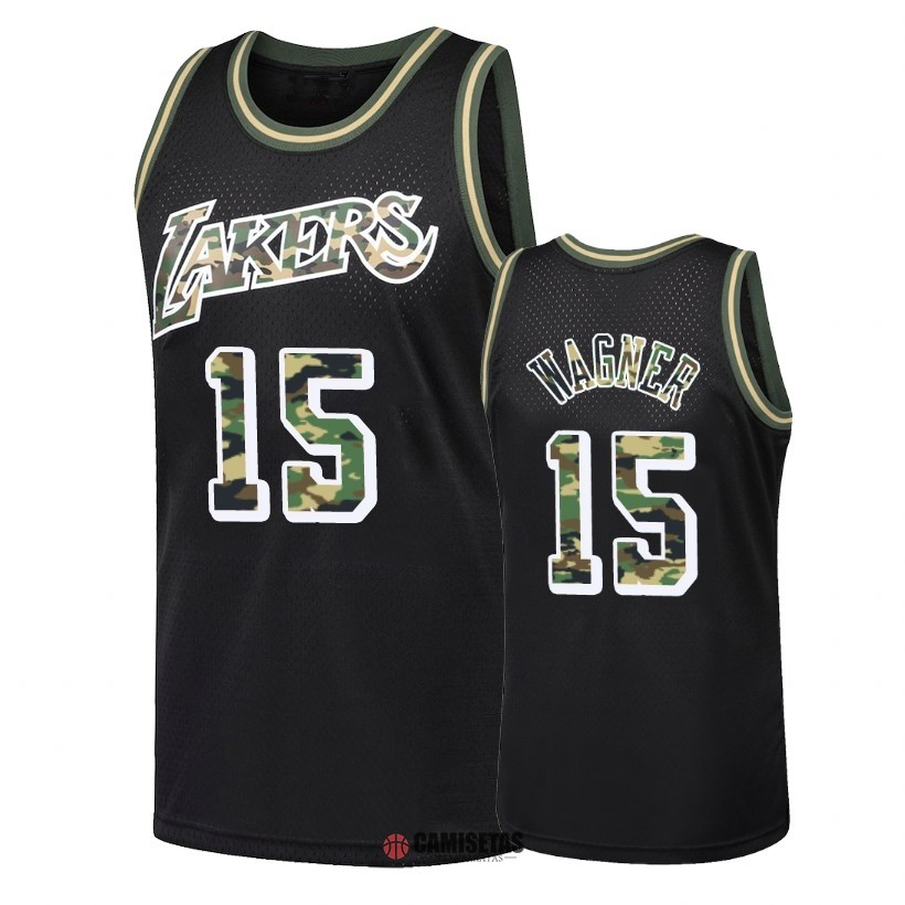 Camisetas NBA Camuflaje De Fuego Recto Los Angeles Lakers NO.15 Moritz Wagner Negro 2018 Barats