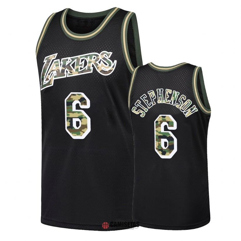 Camisetas NBA Camuflaje De Fuego Recto Los Angeles Lakers NO.6 Lance Stephenson Negro 2018 Barats