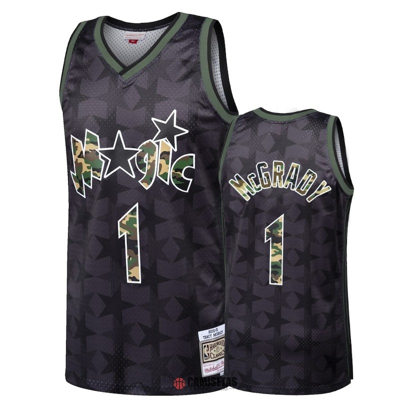 Camisetas NBA Camuflaje De Fuego Recto Orlando Magic NO.1 Tracy McGrady Negro 2018 Barats