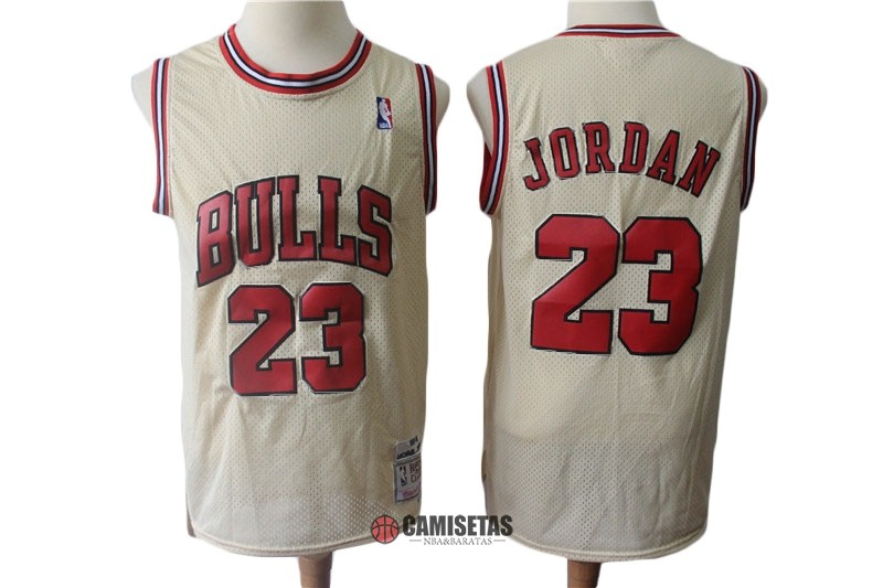 Camisetas NBA Chicago Bulls NO.23 Michael Jordan Retro Crema Barats