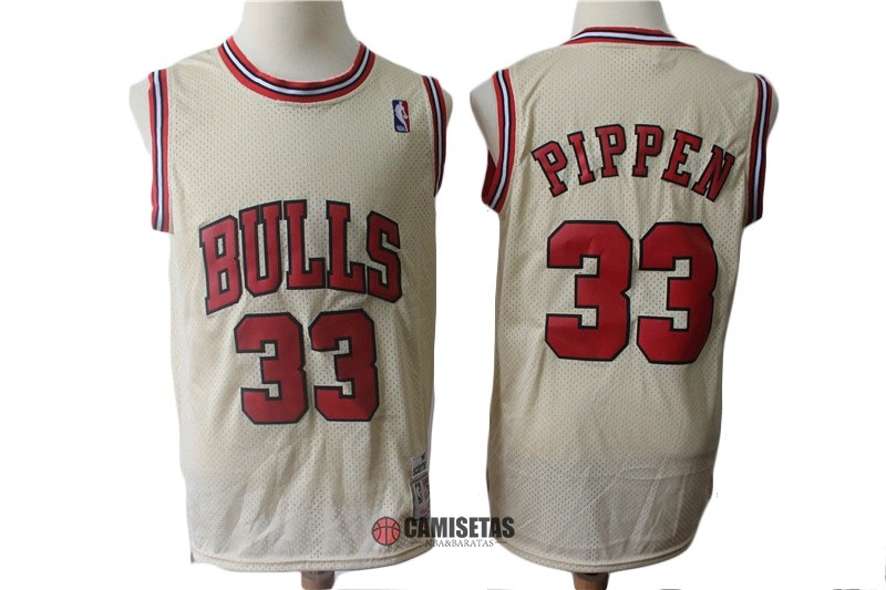 Camisetas NBA Chicago Bulls NO.33 Scottie Pippen Retro Crema Barats