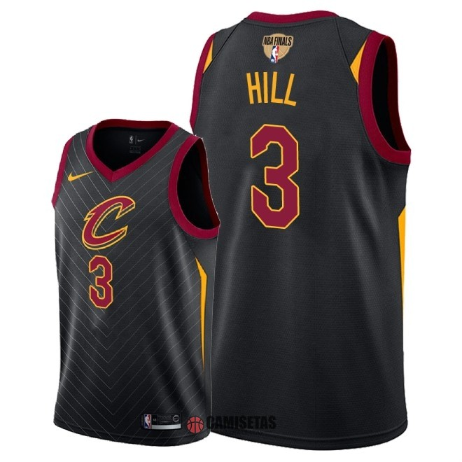 Camisetas NBA Cleveland Cavaliers 2018 Campeones Finales NO.3 George Hill Negro Statement Parche Barats