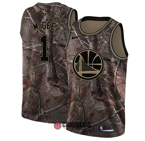 Camisetas NBA Golden State Warriors NO.1 JaVale McGee Camo Swingman Realtree Collection 2018 Barats