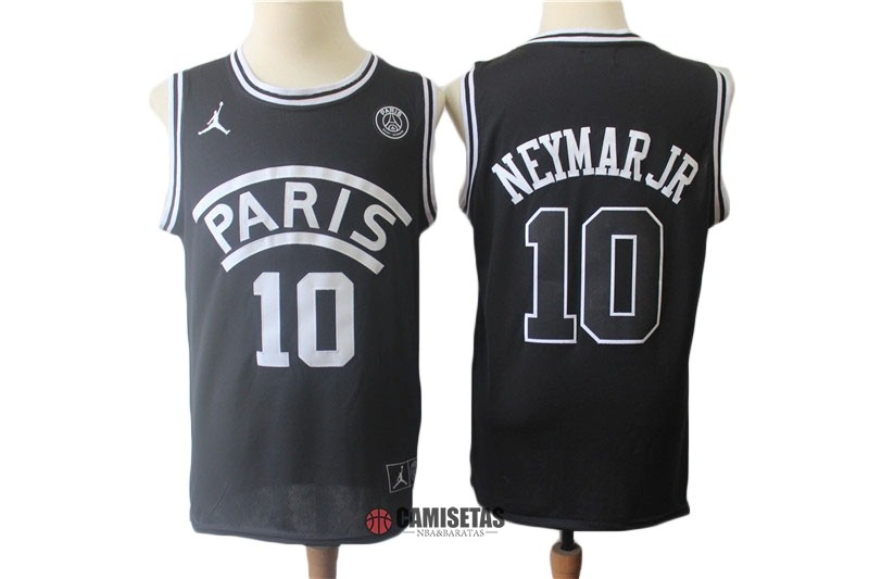 Camisetas NBA Jordan x Paris Saint-Germain NO.10 Neymar Jr Negro 2018 Barats