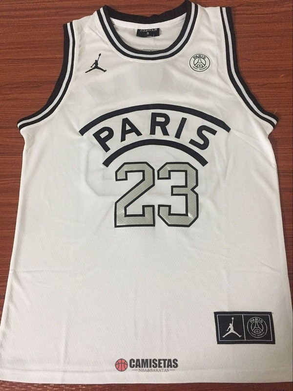 Camisetas NBA Jordan x Paris Saint-Germain NO.23 Jordan Blanco 2018 Barats
