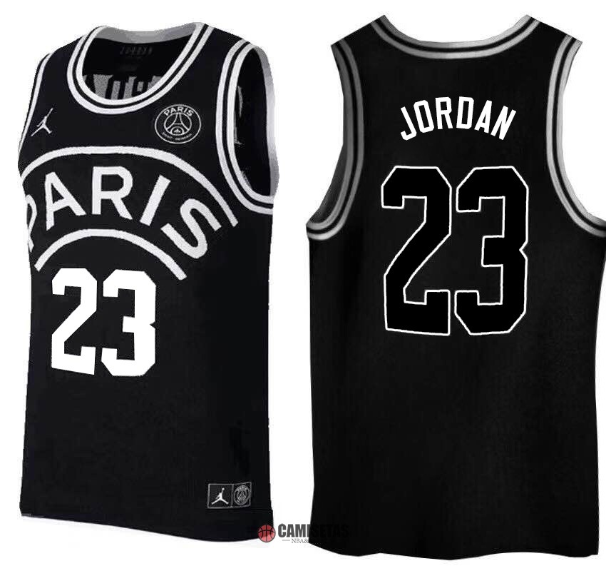 Camisetas NBA Jordan x Paris Saint-Germain NO.23 Jordan Negro Logo Blanco 2018 Barats