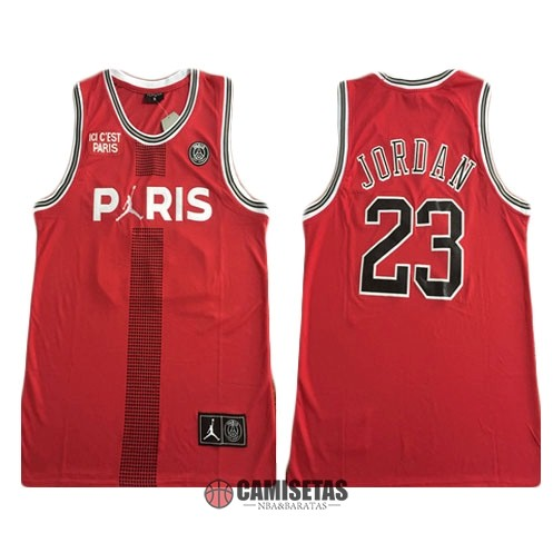 Camisetas NBA Jordan x Paris Saint-Germain NO.23 Jordan Rojo 2018 Barats