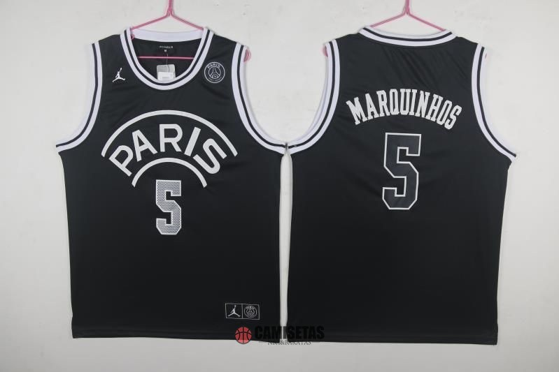 Camisetas NBA Jordan x Paris Saint-Germain NO.5 Marquinhos Negro 2018 Barats