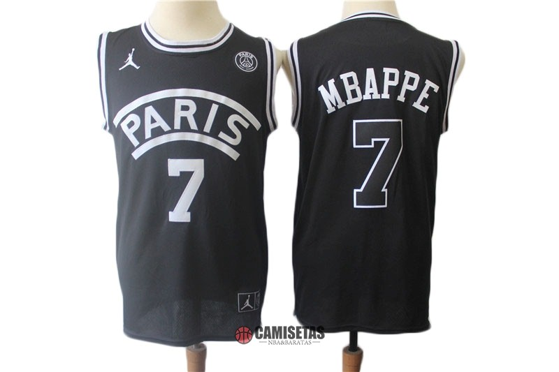 Camisetas NBA Jordan x Paris Saint-Germain NO.7 Kylian Mbappe Negro 2018 Barats