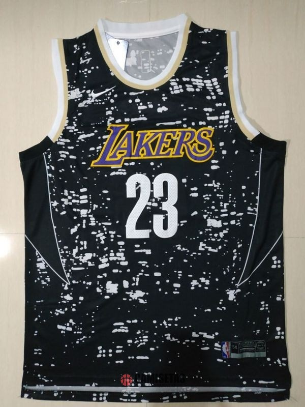 Camisetas NBA Los Angeles Lakers Luces Ciudad NO.23 LeBron James Negro Barats