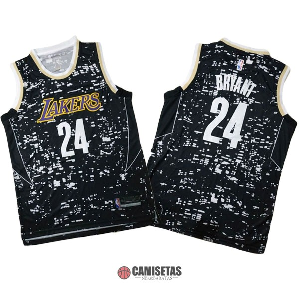 Camisetas NBA Los Angeles Lakers Luces Ciudad NO.24 Kobe Bryant Negro Barats