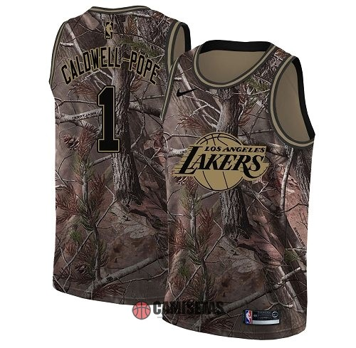 Camisetas NBA Los Angeles Lakers NO.1 Kentavious Caldwell Pope Camo Swingman Realtree Collection 2018 Barats