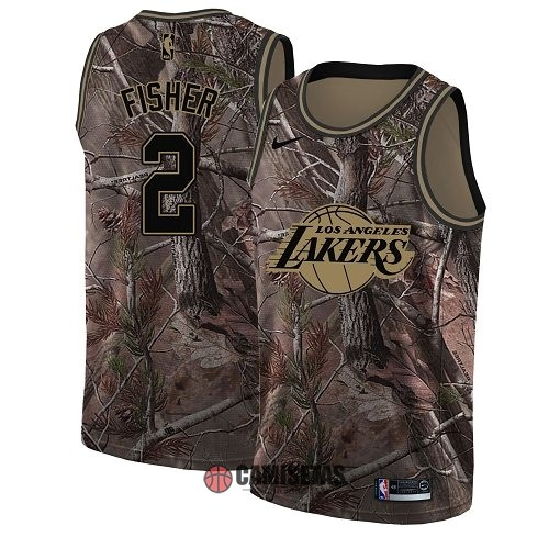 Camisetas NBA Los Angeles Lakers NO.2 Derek Fisher Camo Swingman Realtree Collection 2018 Barats