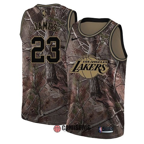 Camisetas NBA Los Angeles Lakers NO.23 LeBron James Camo Swingman Realtree Collection 2018 Barats
