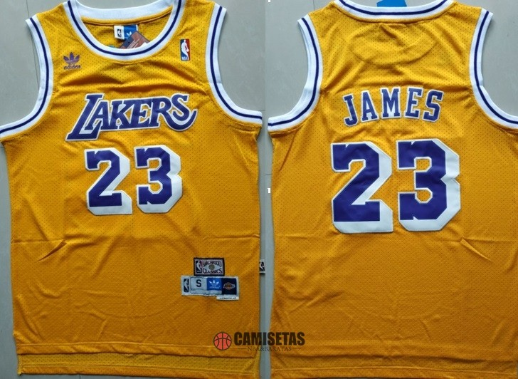 Camisetas NBA Los Angeles Lakers NO.23 Lebron James Retro Amarillo Barats