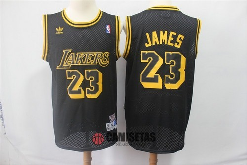 Camisetas NBA Los Angeles Lakers NO.23 Lebron James Retro Negro Barats
