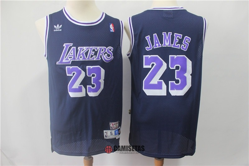 Camisetas NBA Los Angeles Lakers NO.23 Lebron James Retro Negro Púrpura Barats