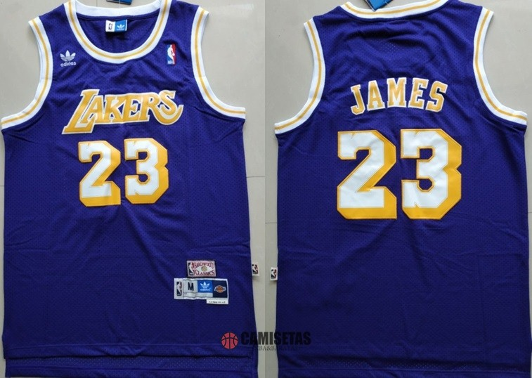 Camisetas NBA Los Angeles Lakers NO.23 Lebron James Retro Púrpura Barats